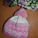 Шапка 6-12 мес, детская зимняя шапка, шапка с бубоном, шапка на флисе, розовая шапка, зимняя шапка