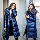 Женский удлиненный зимний пуховик, парка глянцевый синий