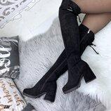 Женские замшевые сапоги еврозима на каблуке