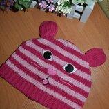 Шапка 2-3 года, демисезонная шапка, шапка для девочки, шапка с ушами, детская шапка, шапка, перчатки