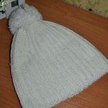 Шапка 42/48 см, шапка детская, теплая шапка, шапка с бубоном, шапка для девочки, белая теплая шапка