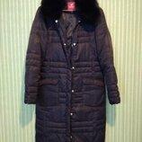 Зимнее чёрное пуховое пальто/пуховик с натуральным мехом