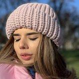 женская вязаная объёмная шапка на флисе нш 5235