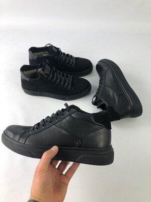 Мужские кожаные замшевые ботинки кроссовки кеды хайтопы на меху топ качество хит сезона