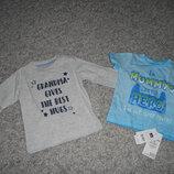 Новые футболка и реглан 6-9мес с надписями