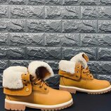 Зимние ботинки timberland натур.нубук ,натур.цигейка