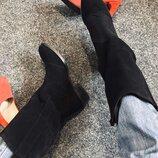 Хит модель Сапоги Казаки замшевые натуральные чёрные от производителя ANS