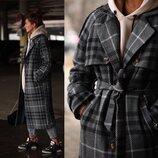 Зимнее пальто в клетку Лд216