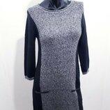 Теплое платье мини с укороченным рукавом