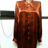 нарядная на Новый год атласная блуза винтаж батал бренд Madam Blue
