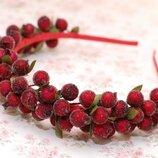 Обруч ободок с ягодами калины бордовый