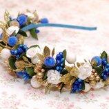 Яркий стильный новогодний обруч ободок бело-сине-серебристый