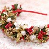Яркий стильный новогодний обруч ободок бело-красно-золотой