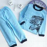 Пижама Пижамка теплая с начесом на баечке с манжетами Дино, начес 92-98-104-110-116-122-128-134-140