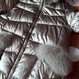 Куртка зима ZLYA с капюшоном песец.Эко-кожа бронза. 2ХЛ.