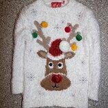 Свитшот травка джемпер свитерок олень новогодний