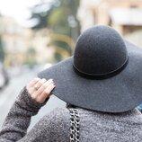 Шерстяная шляпа h&m шерсть широкополая серая шляпа
