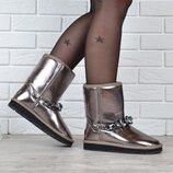 Угги женские кожаные UGG Australia jewerly металлик зеркальные с украшением