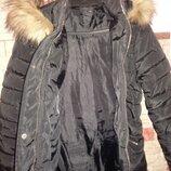 Пуховик черный 36-38 одет 2 раза