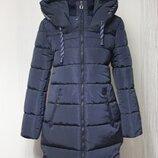 новий 50-52 стильний пальто-пуховік темно-сине