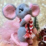 Мягкая игрушка ручной работы вязаная мышка мишка мышонок мишеня мыша миша