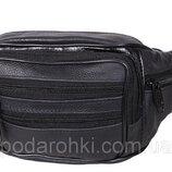 Кожаная сумка на пояс бананка из кожи Люкс поясная через плечо мужская женская черная кожа Польша