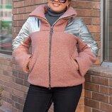 Куртка В Наличии Код 3281 Цвета пудра, графит, голубой Ткань букле барашек плащевка синтепон200 по