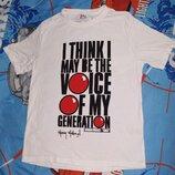 Футболка белая с крутой надписью Классная футболка с надписью «I think I may be the voice of my gen