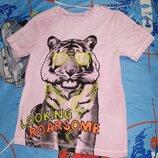 Круто Футболка тигр с очках Розовая Крутая футболка с шикарным тигром в неоновых очках. Цвет розов