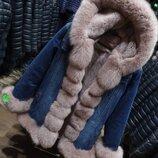 Курточка парка джинс натурльный песец кролик рекс
