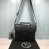 Мужская кожаная сумка H.T. Leather через плечо чоловіча шкіряна сумка чорна чёрная модная