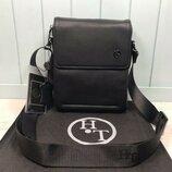Мужская кожаная сумка H.T. Leather через плечо чоловіча шкіряна сумка чорна чёрная натуральная кожа