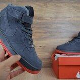 Зимние мужские кроссовки Nike Air Force gray