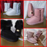 Sale 30,31,32,33,34,35р UGG Натуральные кожаные замшевые угги ботинки зимние на девочку черные розов