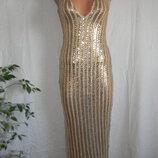 Красивое платье с золотіми пайетками 8p