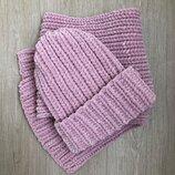Комплект из велюровых шапки и шарфа ручной работы цвета пыльной розы