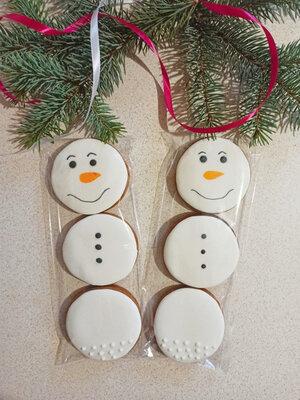 Пряник Снеговик в пакетике 3 пряника