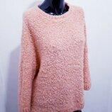 Нежный теплый свитер over size с шерстью и мохером