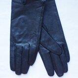 Перчатки женские демисезонные кожаные черные Atmosphere Размер М/l