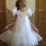 Нарядное пышное платье на девочку снежинка