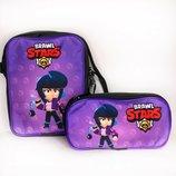 Сумочка сумка и пенал набор из двух единиц Brawl stars Бравл старс Мортис, Леон, Пи, Покко, Кольт