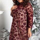 Нарядное платье с цветами на флоке,большого размера