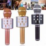 микрофон-караоке Bluetooth с динамиком колонкой , слотом USB и FM тюнером
