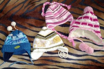 Зимние теплые шапки с завязками и ушками, на 2-5 лет. Польша. Шапка Loman, есть на овчине