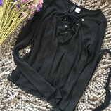 Базовая черная вискозная кофта со шнуровкой на декольте H&M