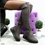 Женские зимние высокие сапоги ботфорты без каблука
