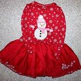 Платье зимнее новогоднее снеговик