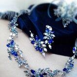 Анжеліка- сережки та гілочка з сяючих прозоро-синіх кристалів, безкоштовна доставка