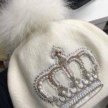 Детская зимняя шерстяная шапка на девочку белая Nikola 52-54