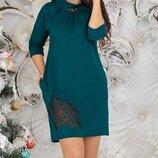 Трикотажное платье с эффектом тату Мадлен. Размеры 48,50,52,54.